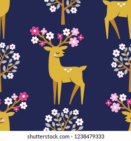 Seamless vector pattern with cute deers and blooming trees on dark blue background.