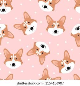 Seamless vector pattern with cute dog face corgi.