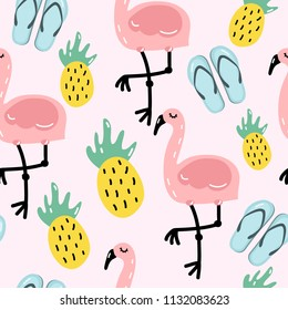 Seamless vector pattern with cute flamingos, pineapples and flip flops.