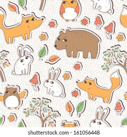 Seamless vector pattern with cute forest animals.
