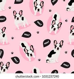 Seamless vector pattern with cute french bulldog on a pink background.