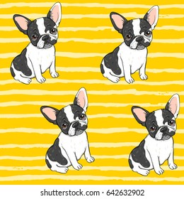 Seamless vector pattern with cute french bulldogs