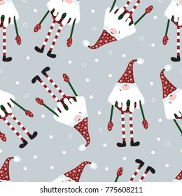Seamless vector pattern with cute gnomes. For wrapping paper, textiles, fabric.