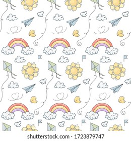 Seamless vector pattern with cute hand drawn kite, paper plane, butterfly, sun, clouds and rainbow. Fun summer background for card, print, poster, advertising, fabric, wallpaper.
