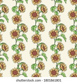 Seamless vector pattern with cute hand drawn sunflowers floral trail on yellow background. For invitation, package, banner, print, card, fabric, label, advertising, textile, wrapping paper, web.