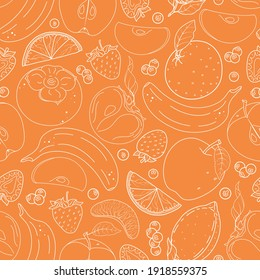 Seamless vector pattern with cute hand drawn various fruits and berries. Fruity theme doodle elements. White line objects on orange background. For wrapping paper, textile, print, fabric, wallpaper.