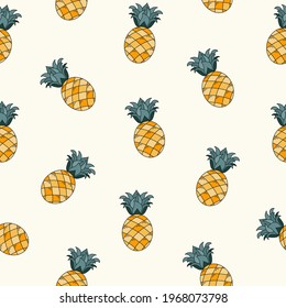Seamless vector pattern with cute hand drawn pineapples isolated on yellow background. Fun summer ornament. Tropical fruit texture for wrapping paper, textile, print, fabric, wallpaper, print, gift.