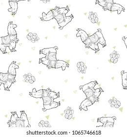 Seamless vector pattern - Cute lama