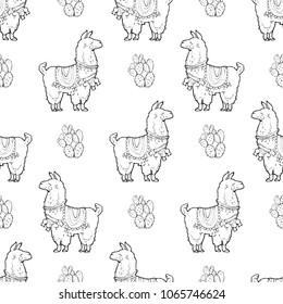 Seamless vector pattern - Cute lama