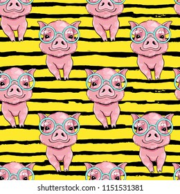 seamless vector pattern with cute little pig on a yellow background