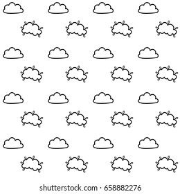 Seamless vector pattern with cute little doodle clouds, marker pen drawn cartoon clouds repeating background for all web and print purposes