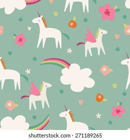 Seamless vector pattern with cute magic unicorns