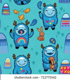 Seamless vector pattern with cute monsters, mountains, rabbits and birds. Awesome childish background. Lovely seamless pattern for children designs on blue background