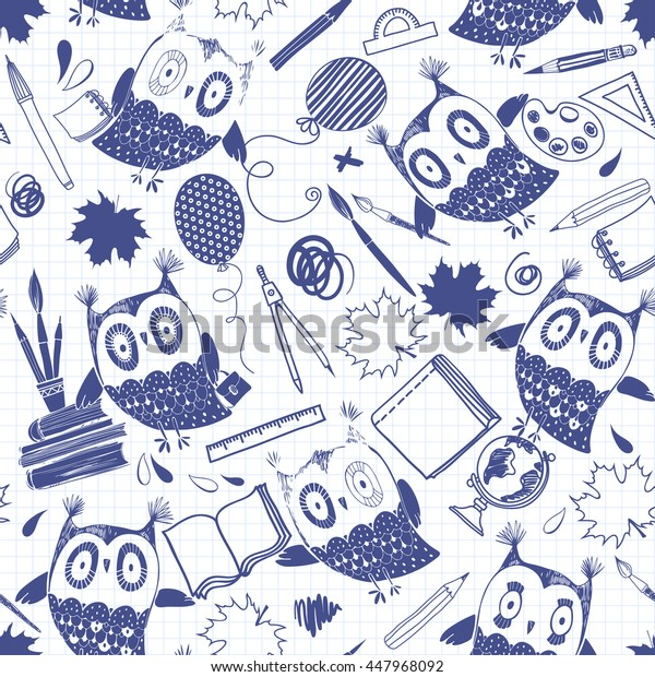 Seamless vector pattern with cute owls and school supplies on paper from a notebook.