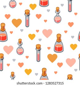 Seamless vector pattern with cute pink cartoon bottles of different shapes on a white background with yellow hearts around. Love wrapping paper. Saint valentine's illustration