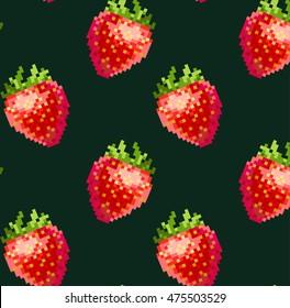 seamless vector pattern with cute pixel-art 8bit red strawberries geek design on dark green background