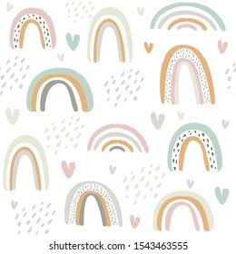 Seamless vector pattern with cute rainbows and hearts