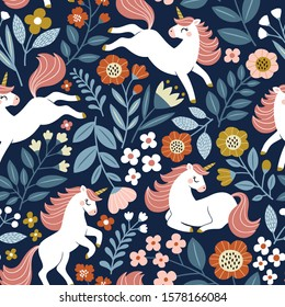 Seamless vector pattern with cute unicorns on floral background. Perfect for textile, wallpaper or print design.