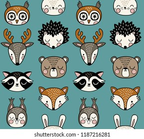 Seamless vector pattern with cute woodland animals on light blue background.
