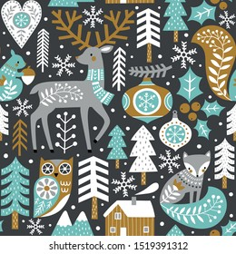 Seamless vector pattern with cute woodland animals, woods and snowflakes on dark grey background. Scandinavian Christmas illustration. You can find the matching logo and postcards in my Christmas set.