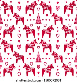 Seamless vector pattern with Dalecarlian horses, hearts and Christmas tree.