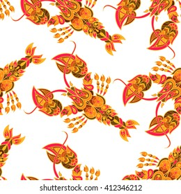 Seamless vector pattern. Decorative cancer, lobster. The illustration on a white background.