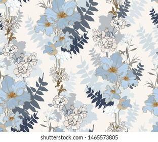 Seamless vector pattern with decorative elegant flowers