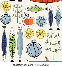 Seamless vector pattern with decorative fishes, stylized vegetables in scandinavian art style