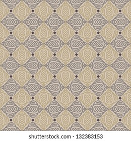 Seamless vector pattern with decorative shapes in organic brown colors. Texture for web and print, spring fashion fabric or textile, background for wedding invitation or presentation slide