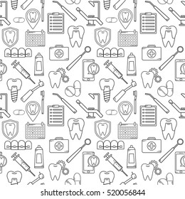 Seamless vector pattern in a dental linear style. Background for web site dental clinic. Orthodontics, implants.