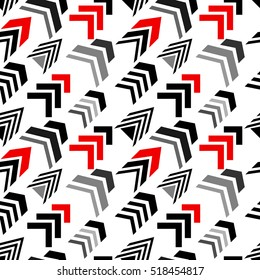 Seamless vector pattern with diagonal arrows. Abstract vector background. 1950s-1960s motifs. Retro design collection. Black, red, grey, white.
