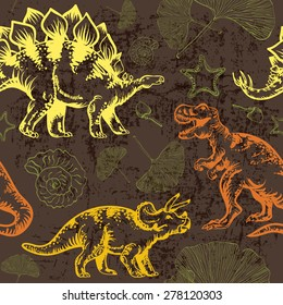 Seamless vector pattern with dinosaur Tyrannosaurus rex, triceratops and stegosaurus
