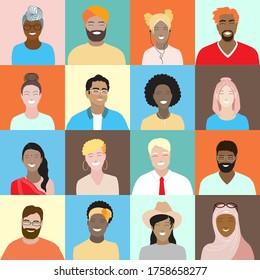 Seamless vector pattern, diverse smiling people square avatars set. Minimal cartoon young female, male portraits. Multicultural diversity group, international team, arabian, asian, african characters.