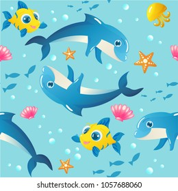 Seamless vector pattern with dolphins, fish, starfish, seashells, jellyfish, and bubbles. Perfect for textile, covers, wallpapers and other design works