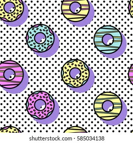 Seamless vector pattern of donuts in style of 90's on geometric background.