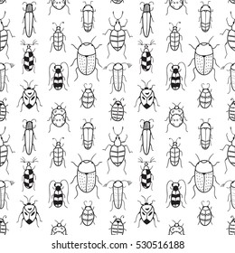 Seamless vector pattern with doodle bugs