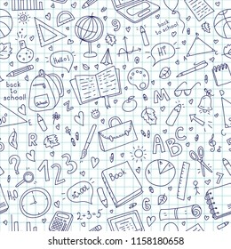 Seamless vector pattern with doodle school stuff. Can be used for wrapping paper, textiles, wallpaper, websites, blogs, scrapbooking, cards