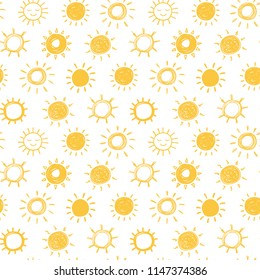 Seamless vector pattern with doodle suns.