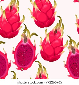 Seamless vector pattern with dragon fruit