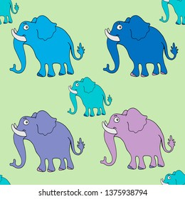 seamless vector pattern with elefants