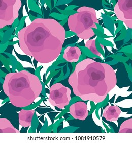Seamless vector pattern of elegant flowers. Hand draw illustration.