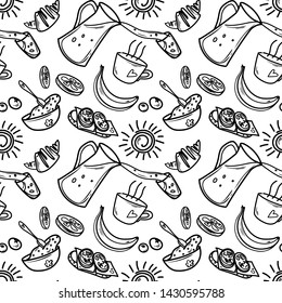 Seamless vector pattern with elements for breakfast: croissant, sandwich, juice and glass, porridge in a plate with the spoon, banana, cup of tea or coffee, orange, lemon, berries and a morning sun