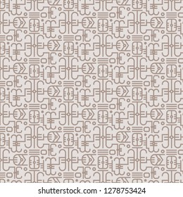 Seamless vector pattern with ethnic hieroglyph symbols. Abstract vector background