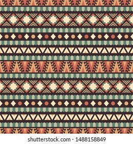 Seamless vector pattern in ethnic style. Background with tribal ornament of geometric shapes. Image for printing on paper, wallpaper, covers, textiles, fabrics, clothing and other