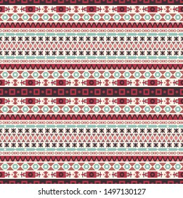 Seamless vector pattern in ethnic style. Background with tribal ornament of geometric shapes. Traditional textile design. Image for printing on paper, wallpaper, covers, fabrics, clothing and other
