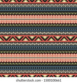 Seamless vector pattern in ethnic style. Background with tribal ornament of geometric shapes. Traditional design for textiles. Image for printing on paper, wallpaper, covers, fabrics, clothin