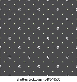 Seamless vector pattern with euro currency on dark black background, can be used as tiling, web pattern or for just finance related design.