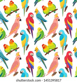 seamless vector pattern with exotic birds.  Tropical parrots: lovebirds, cockatoos, budgie, macaw. Illustration in the style of hand drawn flat. Suitable for Wallpaper, backgrounds, textiles