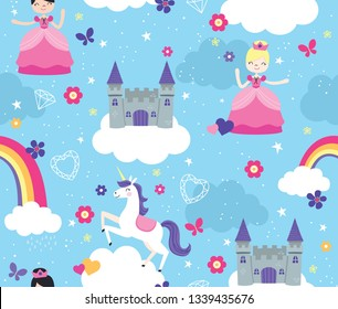 Seamless Vector Pattern of Fantasy Castle in the Clouds with unicorn and princesses.