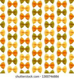 Seamless vector pattern. Farfalle pasta isolated on white background.